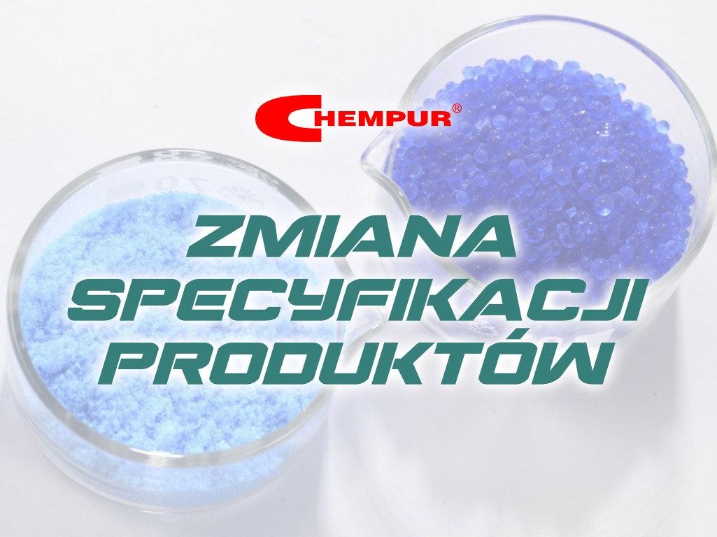 Zmiana specyfikacji stężeń kwasu fluorowodorowego.